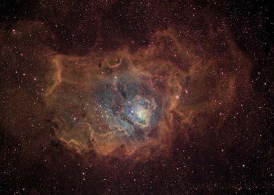 "Narrowband Lagoon Nebula by D. Wilson, 14"" Imaging Harmer Wynne, SBIG STXL 11002M"
